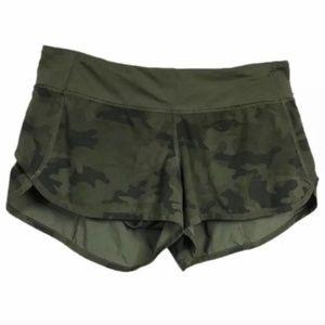 Lululemon Speed Shorts Savasana Camo Green, Size 4